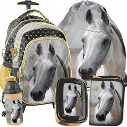 Plecak na Kołach Szkolny dla Dziewczyny w Konie Zestaw [PP19H-997]