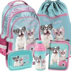 Piękny Plecak Szkolny z Kotem Pieskiem Dziewczęcy Zestaw [PTK-181]