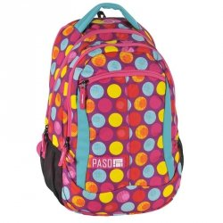 Plecak Młodzieżowy Szkolny Kolorowe Kółka Różowy