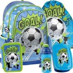 Plecak Szkolny dla Chłopaka Niebieski Zielony z Piłką Zestaw [PP19PI-081]