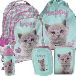 Plecak z Kotem w Okularach Szkolny dla Dziewczynki Komplet Kot [PTF-181]