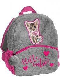Plecak Przedszkolny Plecaczek Pluszowy z Kotkiem dla Dziewczynki [PJC-305]
