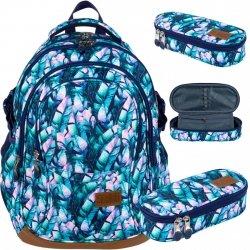 St.Right Błękitny Niebieski Plecak Młodzieżowy Szkolny Majewski [BP1 BLUE LEAVES]