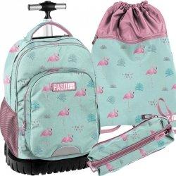Mocny Plecak na Kółkach Młodzieżowy Komplet Flamingi [PPLF19-1231]