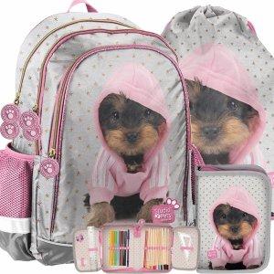 Plecak dla Dziewczyny do Szkoły York Szary z Pieskami Paso [PTJ-081]