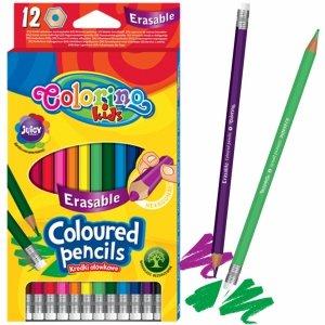 Kredki Wymazywalne z Gumką Colorino 12 Kolorów Ołówkowe [92531PTR]