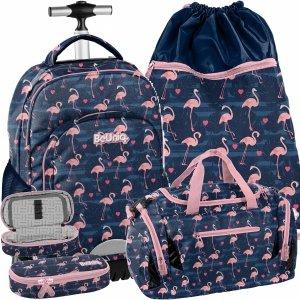 Plecak na Kółkach Młodzieżowy Flamingi Duży Praktyczny [PPNG20-1231]
