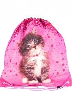Kotek Różowy Worek na Obuwie Kapcie Wf Dziewczęcy Paso [RHN-712]