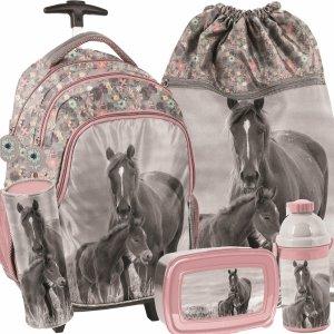 Modowy Plecak z Konikami na Kółkach w Konie Szkolny dla Dziewczynki [PP20KO-997]
