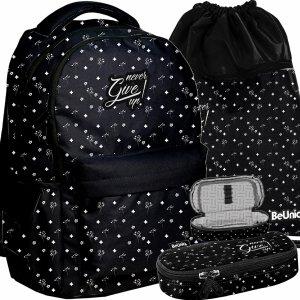 Plecak w Kwiatki Vintage Młodzieżowy Damski Czarny BeUniq [PPGU20-2705]