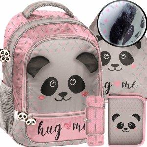 Panda Plecak Szkolny dla Dziewczynki Szary Różowy z Uszami [PP20PA-260]