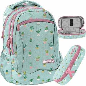 Dziewczęcy Plecak Kaktusy Młodzieżowy Szkolny Zielonkawy BeUniq [PPMT20-2808/16]
