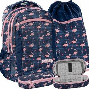 Plecak Młodzieżowy Szkolny Dziewczęcy Flamingi Granatowy [PPNG20-2808]