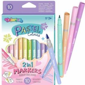Dwustronne Flamastry Pastelowe 10 kol. Pastelowe Colorino [80875PTR]