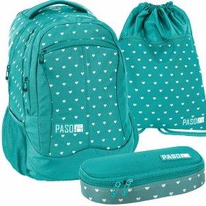 Modny Plecak Młodzieżowy Szkolny Serduszka dla Dziewczyny [18-2808IM/16]