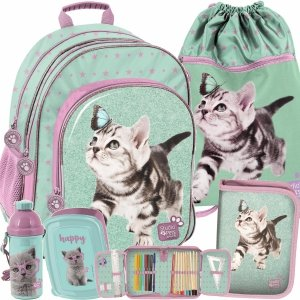 Plecak do Szkoły z Kotkami dla Dziewczynki Modowy Paso [PTN-090]