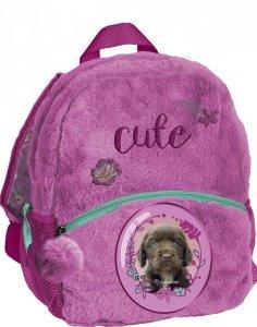 Plecaczek Przedszkolny Pluszowy Plecak Piesek dla Dziewczynki [RHX-305]