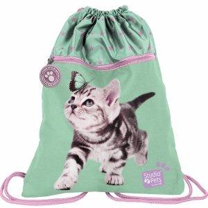 2-Komorowy Worek dla Dziewczyny z Kotkiem Motylkiem [PTN-713]