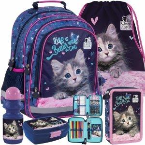 Plecak dla Dziewczyny z Kotkiem do Szkoły Podstawowej kot Derform [PL15BCF30]