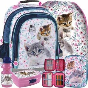 Kotek Plecak dla Dziewczynki do Szkoły Podstawowej z Kotkiem [PL15BCF22]