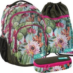 Kwiaty Plecak Młodzieżowy Szkolny Zestaw dla Dziewczyny (18-2706LO)