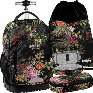 Modny Plecak na Kółkach dla Dziewczyny Młodzieżowy Kwiaty Czarny [PPRS20-1231]