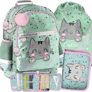 Modny Plecak Szkolny Kotek dla Dziewczyny w odcieniach zieleni [PP21CA-116]
