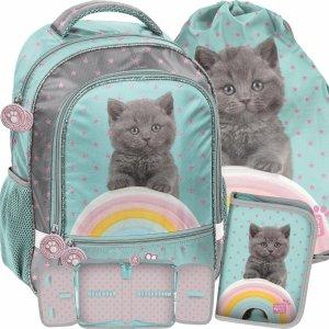 Plecak z Kotem dla Dziewczynki do Szkoły Podstawowej [PTL-260]