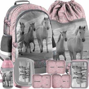 Konie w Galopie Dziewczęcy Szkolny Plecak Komplet 3 elem. [PP21HO-116]