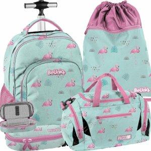 Big Zestaw Plecak na Kółkach Flamingi Młodzieżowy Szkolny [PPLF19-1231]