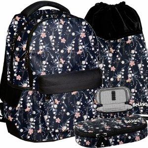 Vintage Plecak w Kwiatki Młodzieżowy Dziewczęcy Czarny BeUniq [PPRO20-2705]