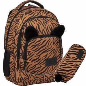 Plecak BackUP Młodzieżowy Szkolny z Uszami Tygrys [PLB3YA18]