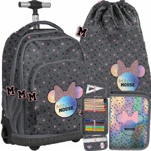 Plecak na Kółkach Myszka Minnie Szary Duży Szkolny [DMNA-671]