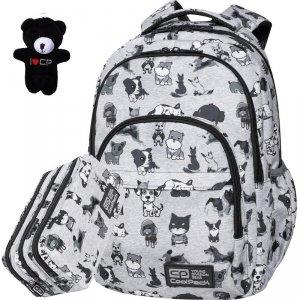 Cp Plecak CoolPack Szkolny z Pieskami Szary Młodzieżowy Basic Doggies [C03180]