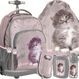 Plecak na Kółkach dla Dziewczynki z Kotkiem Komplet [RLD-887]
