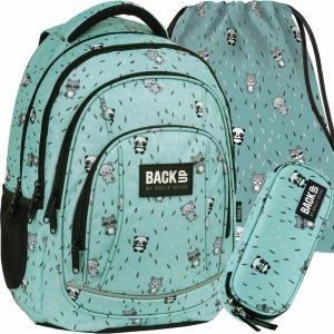 BackUP Szkolny Plecak Panda Szop dla Dziewczyny Miętowy [PLB3A29]