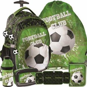 Plecaki z Kółkami Szkolne Piłkarski Duży Zestaw Czarny Zielony [PP20FO-997]