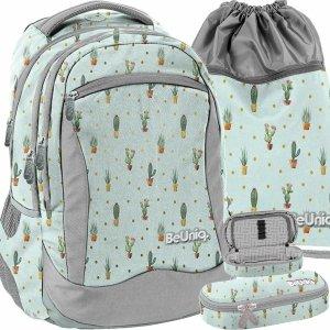 Modny Plecak w Kaktusy Młodzieżowy Szkolny Dziewczęcy Zielony [PPGD20-2808]