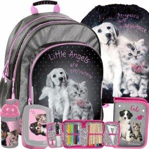Plecak Szkolny Pies Kot dla Dziewczyny Modny do Szkoły [RHG-090]