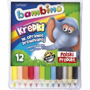 Bambino Kredki Ołówkowe 12 Kolorów Grube Drewniane [000294]