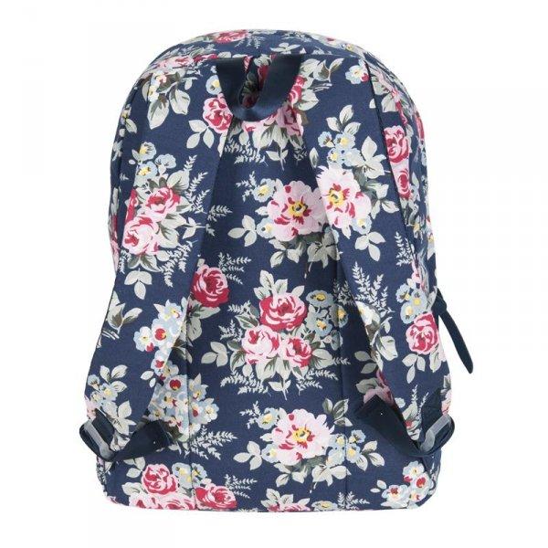 Plecak Vintage Młodzieżowy Szkolny w Kwiaty Róże 17-223A
