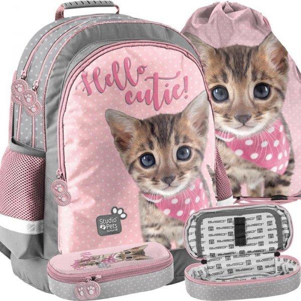 Szkolny Plecak z Kotkami Koteczek dla Dziewczynki [PJC-116]