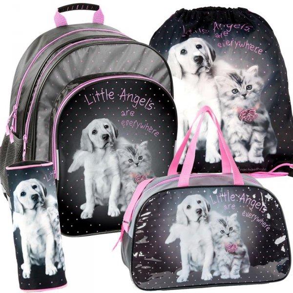 Plecak Szkolny Piesek Kotek Zestaw 4w1 dla Dziewczyny RHG-09