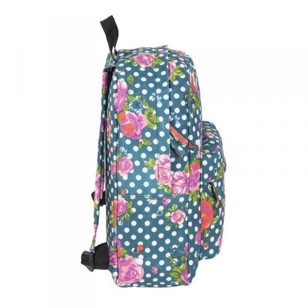 Plecak Vintage Młodzieżowy Zielony w Kwiaty