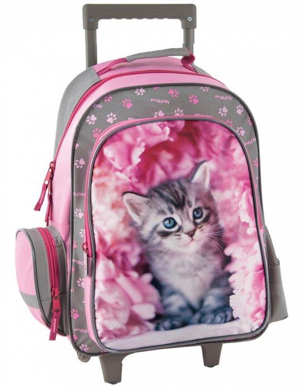 Plecak na Kółkach z Kotem Kot Szkolny Zestaw dla Dziewczynki [RAM-1220]