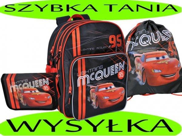 Zestaw Szkolny 3w1: Plecak Szkolny + Piórnik z wyposażeniem + Worek gimnastyczny z Autem Cars Zygzak McQueen