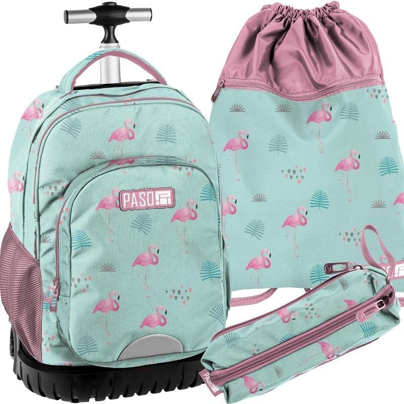 6a5427334d601 Mocny Plecak na Kółkach Młodzieżowy Komplet Flamingi [PPLF19-1231 ...