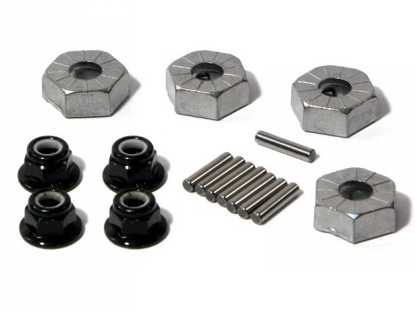 HEX WHEEL HUB 14mm SILVER/4pcs 86066
