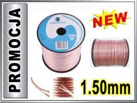 KAB0358 Kabel głośnikowy CCA 2x1.50mm CABLETECH 1m
