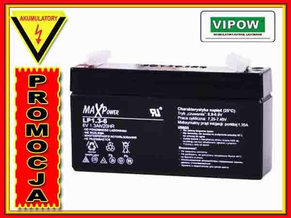 BAT0400 Akumulator żelowy 6V 1.3Ah MaxPower